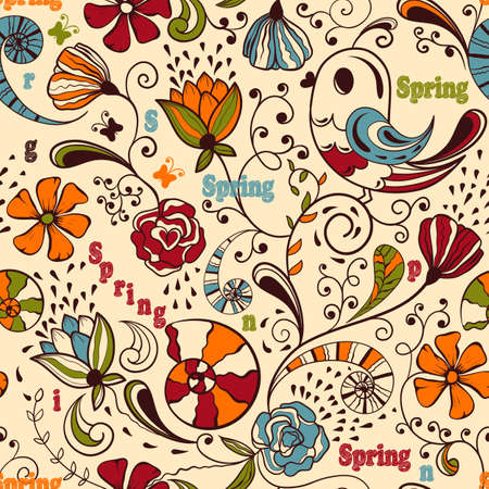 Vector seamless spring pattern, fully editable eps 8 file, seamless  pattern in swatch menu, standart AI font Cooper std Vector