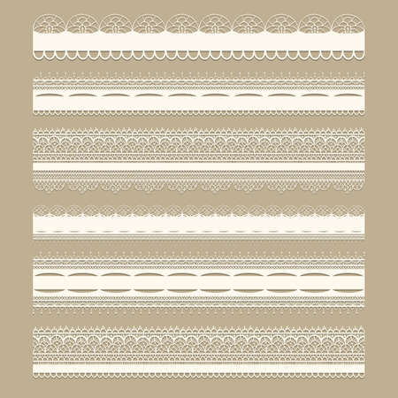 Vector lacy vintage design elements, lacy seamless brushes included, shadows at the separate layer, fully editable eps 8 file Çizim