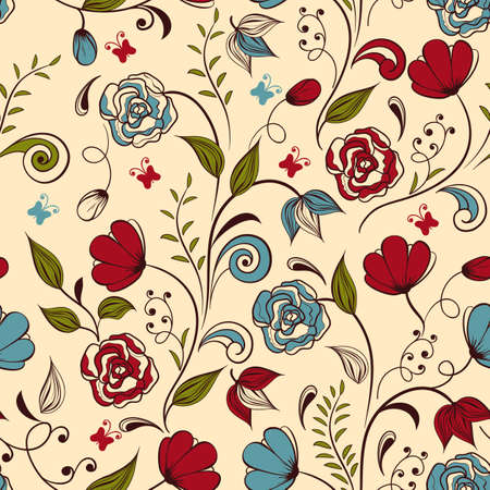 clipping mask: Vector seamless floral  spring pattern,  fully editable eps 8 file with clipping mask and seamless pattern in swatch menu