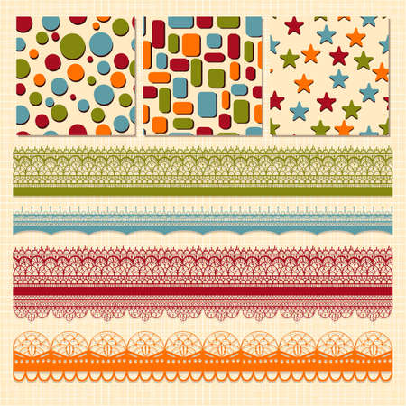 Vector bright seamless paterns and seamless lacy ribbons, fully editable eps 10 file, seamless patterns in swatch menu Vector