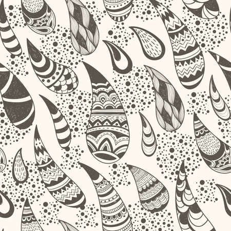 vector seamless paisley  pattern, hand drawn doodle style, fully editable eps 8 file with clipping mask, elements can be used separately, seamless pattern in swatch menu Illustration