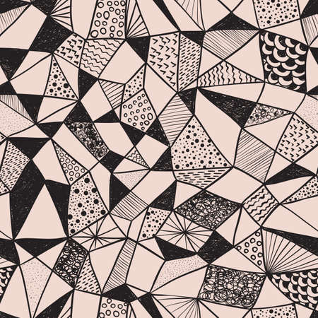 vector seamless funky pattern, doodle hand drawn style Vector