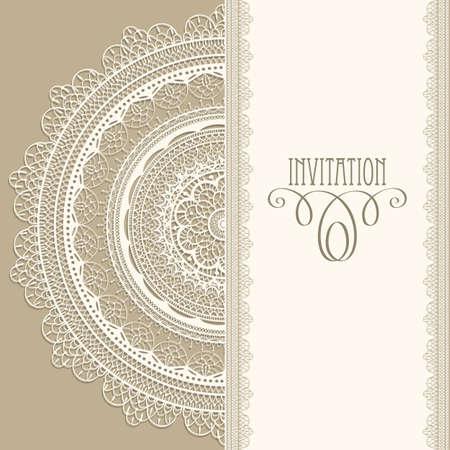 Vector vintage uitnodiging met witte kanten servet, naadloze kanten borstels inbegrepen