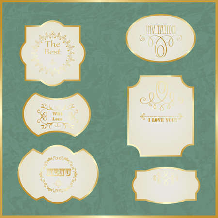 Vector Vintage Labels with Golden Borders and Text on Crumpled Paper Stock Vector - 18017046