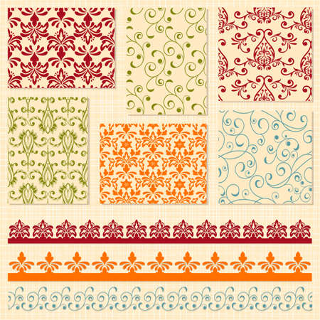 decorative border: Vector bright seamless paterns and seamless lacy ribbons, fully editable eps10 file, seamless patterns in swatch menu, seamless pattern brushes included,  shadows with transparency effects on separate layer