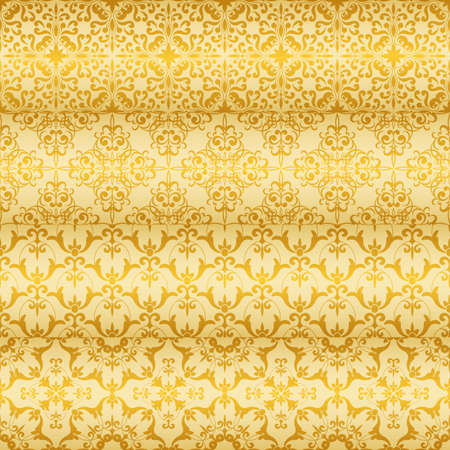 Vector seamless golden floral  paterns Stock Vector - 18371262