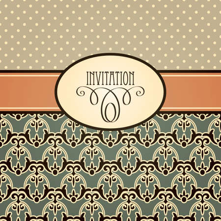 vector retro invitation with seamless floral pattern and frame Stock Vector - 18371271
