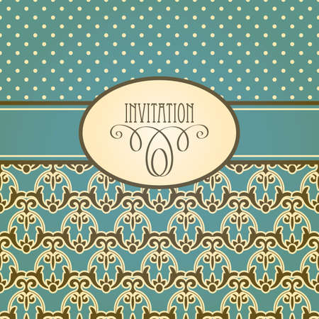 vector invitation card with seamless floral wallpaper pattern , fully editable eps 10 file,seamless patterns in swatch menu Vector