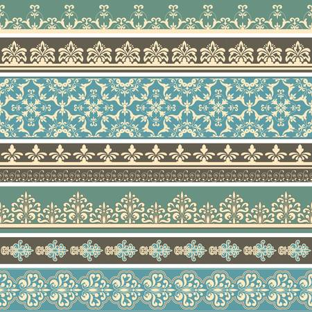 Vectorseamless floral retro borders, fully editable eps 8 file, seamless brushes included