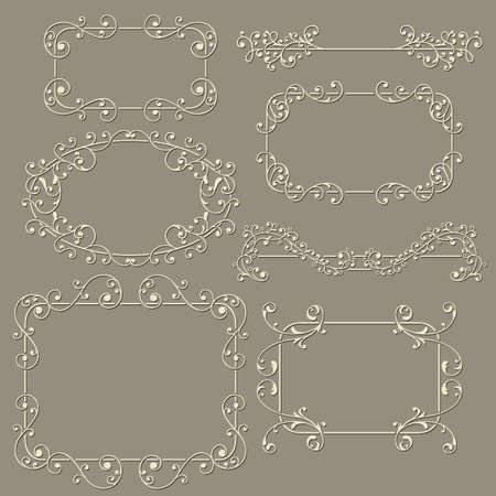 lacy  vintage floral  design elements on gradient background, fully editable  file Vector