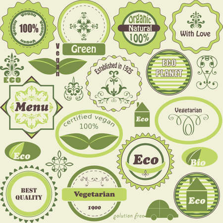 Vector set of eco  labels and vegetarian  design elements, fully editable eps8  file Vector