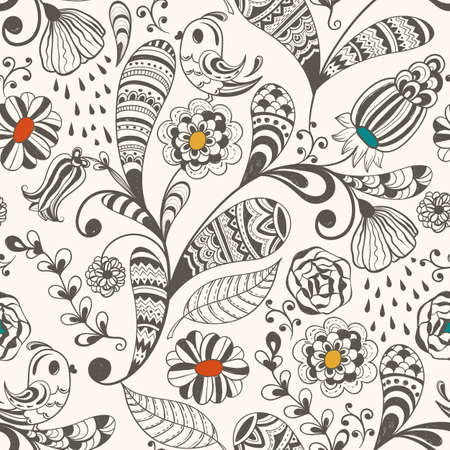 vector  spring seamless wallpaper  spring  floral pattern with  birds, hand drawn doodle style, fully editable eps 8 file with clipping mask and pattern in swatch menu