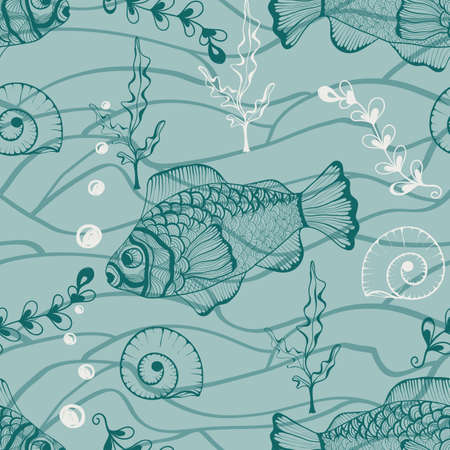 Vector seamless underwater pattern with funky fishes, shells, and plants, hand drawn doodle style, fully editable eps 8 file, seamless pattern in swatch menu Vector