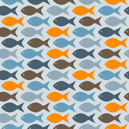 fully editable: vector seamless pattern with fishes, fully editable eps 8 file with clipping masks and pattern in swatch menu