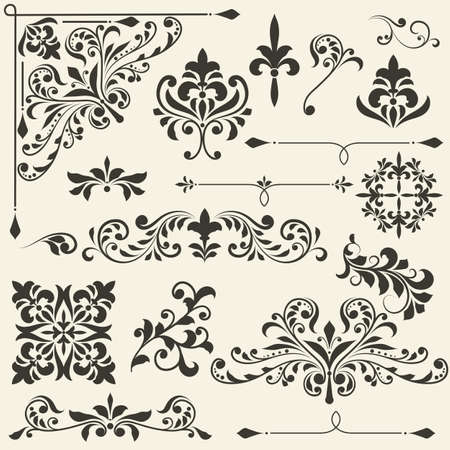 corner ornament: vintage floral  design elements on gradient background, fully editable file
