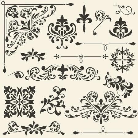 corner ornament: vintage floral  design elements on gradient background, fully editable file