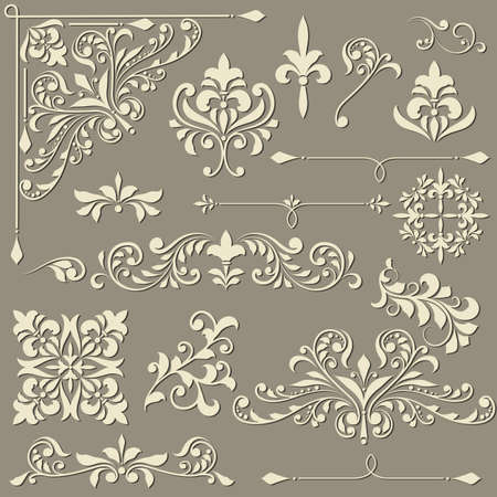 vector  vintage floral  design elements on gradient background, shadown on separate level, fully editable eps 8 file
