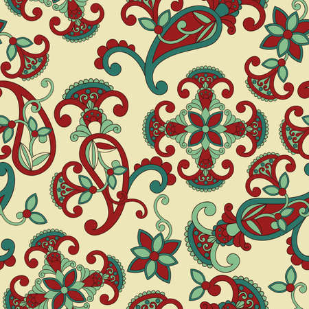 Vector seamless paisley pattern, can be used as texlile or wrapping paper, seamless pattern in swqatch menu Vector