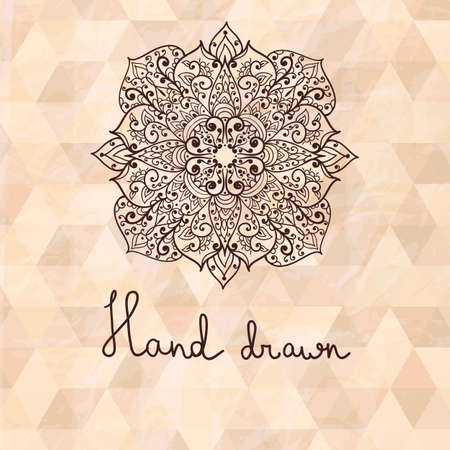 vector hand drawn flower  on geometric background, crumpled paper texture, transparency effects