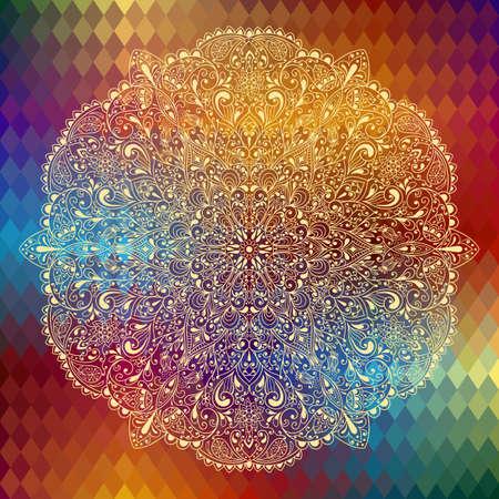 vintage grunge image: vettoriale altamente dettagliate motivo floreale su sfondo geometrico, Vettoriali