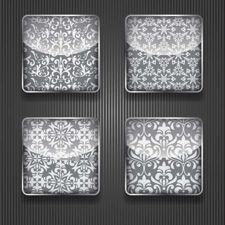 metal grid: 4 vector shiny icons with floral pattern,  transparency effects