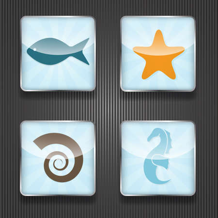 sea star: 4 vector shiny icons with sea horse, star, fish and shell,  transparency effects