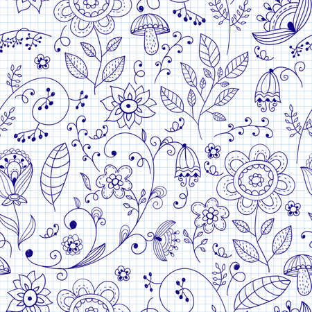 Vector seamless summer doodle style  floral pattern Stock Vector - 20915829