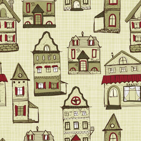 vector seamless pattern with old styled medieval retro houses, pattern in swatch menu Illustration