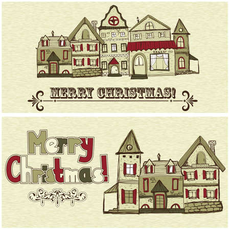 2 vector Christmas postcards with old houses and greetings Vector