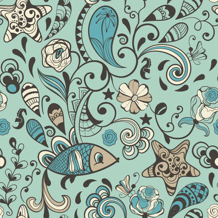vector highly detailed abstract pattern with flowers, plants, fishes and insects, seamless pattern in swatch menu
