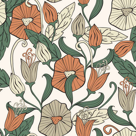 vector seamless floral funky pattern, seamless pattern in swatch menu Vector