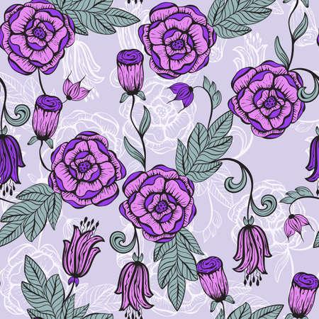 Vector seamlesss Floral pattern, unreal funky flowers Vector