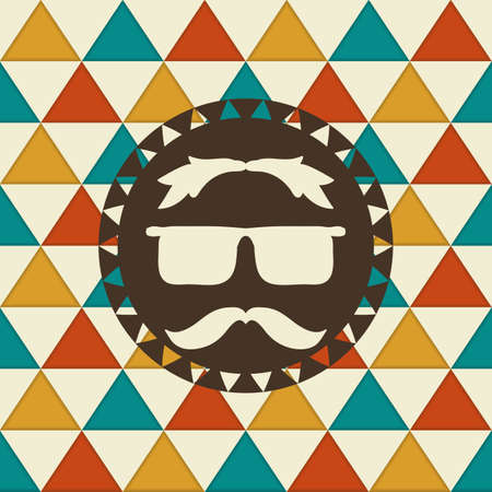 Vector Seamless hipster pattern. Hipster label on it with  glasses and mustache. Stock Vector - 22831262