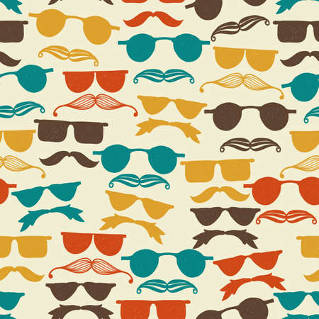 black hair blue eyes: Vector Seamless hipster pattern with glasses and mustache