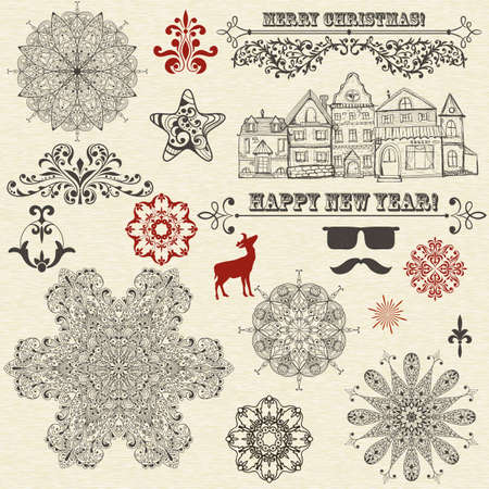 vector vintage holiday  design elements  and snowflakes Vector