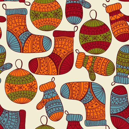 fir tree balls:   Christmas pattern with socks, mittens, fir tree balls and snowflakes