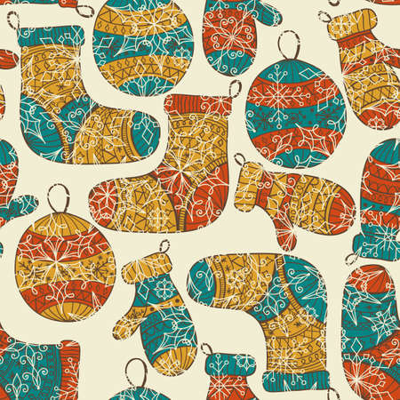 Christmas pattern with socks, mittens, fir tree balls and snowflakes  Illustration