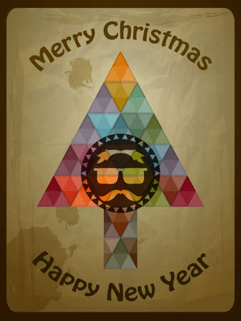 Vector hipster christmas greeting card with fir tree Vector