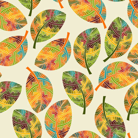 Vector Seamless Pattern with Bright Autumn Leaves, seamless  Vector