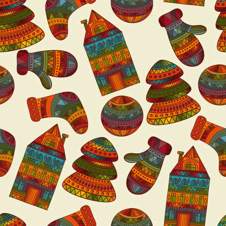 christams: Vector seamless winter  Christams pattern with socks, mittens, fir trees, balls, houses, pattern in swatch menu Illustration