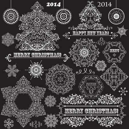 vintage Christmas highly detailed design elements: fir tree, balls, snowflakes, and frames Vector