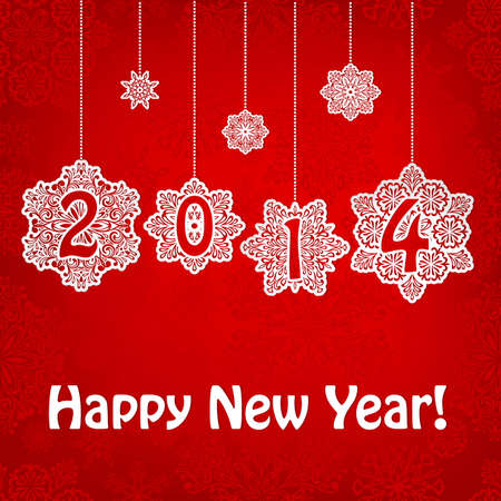2014 New Year Greeting Card with hanging snowflakes and greetings on red seamless pattern, transparency effects Vector