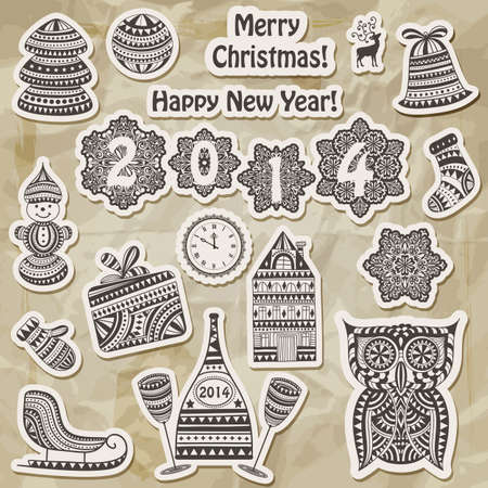 Vector Christmas stickers design elements:fir tree, ball, bell, sock, mitten, snowman, champagne with glasses,  house, sledge, owl, clock, and snowflakes on crumpled paper texture, transparency effects Vector