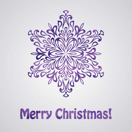 Vector Greeting Christmas Card with Watercolor Snowflake Vector