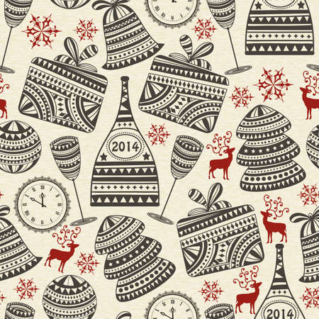 vector holiday  winter pattern with clock, champagne and glasses, fir trees, presents, deers, and snowflakes, seamless pattern in swatch menu Vector
