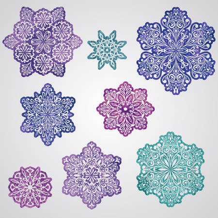 Vector paper cut watercolor painted snowflakes Vector