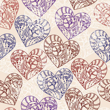 Vector seamless pattern with hand drawn hearts, pattern in  swatch menu Vector