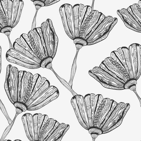 monochromatic: Vector Seamless Pattern with doodle hand drawn bizarre flowers, seamless pattern in swatch menu