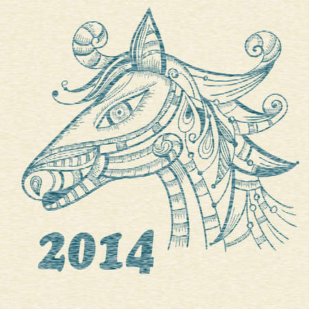 bue: vector hand drwan horse, symbol of 2014 year in chinese calendar