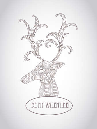 Vector Valentines Greeting card with detailed doodle deer Deer Vector